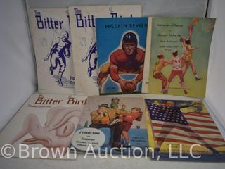 Assortment of old programs from Kansas University   basketball and football
