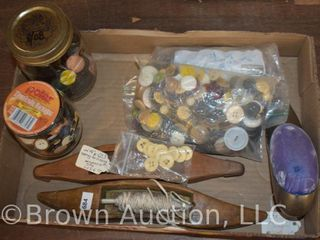 Box of assorted sewing items