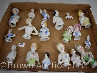 Assorted of  18  vanity brush porcelain half dolls