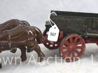 Arcade Cast Iron McCormick Deering 2 horse drawn farm wagon