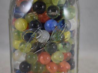 Quart jar full of marbles