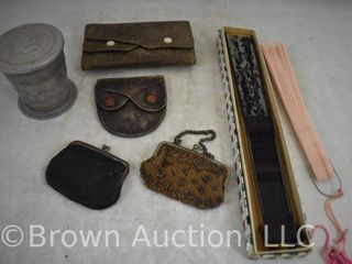 Assortment of Vintage coin purses  celluloid fans and folding tin cup