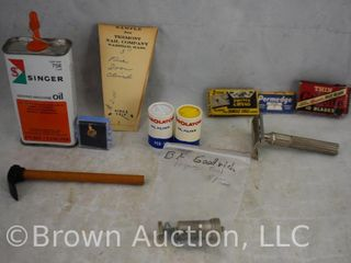 Assorted items incl  Singer Oil can  Gillette razor   3  boxes razor blades  B F  Goodrich injector