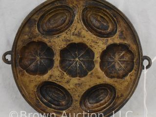 Cast Iron mint or candy mold  7 25  round dia
