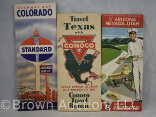 3  Old oil company road maps