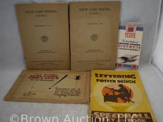 5  Old phamphlets incl  Drug Store Sho Cards  Show Card Writing course  Savings Bonds stamp album