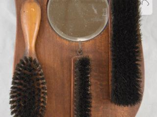 Wall mount clothes brushes and beveled mirror set