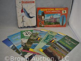 Assortment of old travel brochures