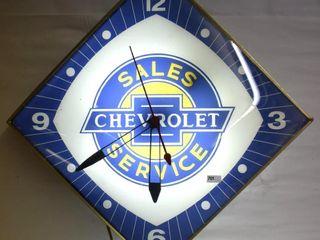Chevrolet Sales and Service bubble glass Diamond Pam clock