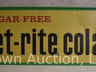Diet Rite cola embossed sst advertising sign