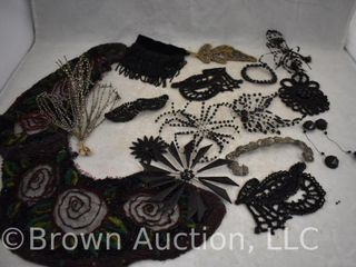 Assortment of Vintage beaded collars  hair collars  etc