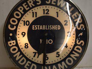 Cooper s Jewelers bubble glass illuminated advertising clock