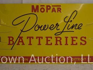 MoPar Power line Batteries SST embossed advertising sign