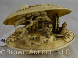Carved Japanese clam shell diorama scene in Netsuke style