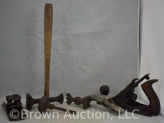 Assorted old tools incl   2  wood planes  oil spout