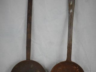 2  Cast Iron camp fire long handle spoons