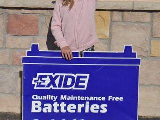 Exide Batteries SST embossed die cut sign