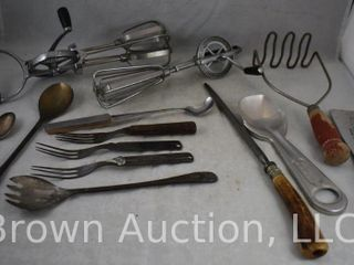 Assortment of old kitchen utensils incl  mixers  mashers  etc