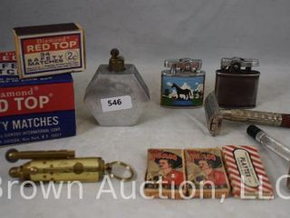 Assortment of old razors  razor blades  cigarette lighters and safety matches