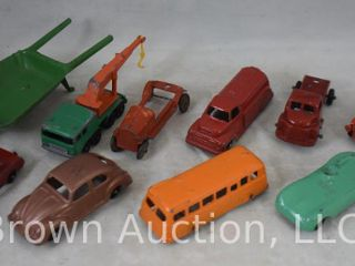 Assortment of  10  toy cars and trucks  mostly Tootsietoy