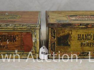 2  Tin Bayuk cigars box   Philadelphia hand made Perfecto and Havana Ribbon