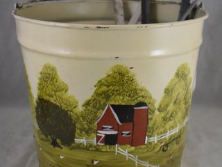 Decorated pail bucket w 5 assorted ladles and strainers