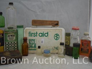 Assortment of old medicine bottles and tins   First Aid kit w contents