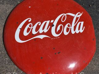 Coca Cola porcelain 4  button advertising sign  cut out at bottom for pole