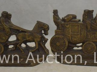 Pr  W H  Howell Stagecoach bookends