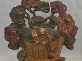 Cast Iron door stop  Basket of Flowers