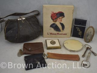 Assortment of vintage coin purses  key holder  compacts and leather purse
