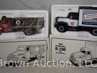 2  1951 Ford F 6 full rack stake truck  1957 International R 190 w dry goods  van  1 34 scale