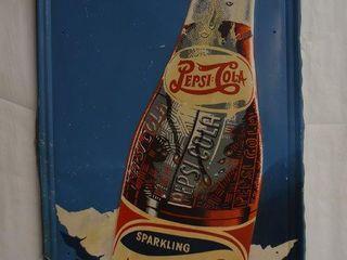 Pepsi Cola double dot vertical embossed sst self framed advertising sign