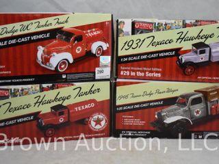 4  Texaco die cast vehicles  all original boxes