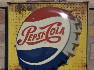 Pepsi Cola embossed metal botte cap advertising sign  self framed
