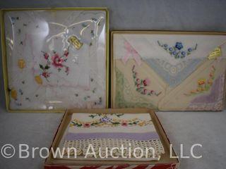 Vintage handkerchiefs and embroidered dresser scarf