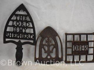 3  Cast Iron decorative trivels