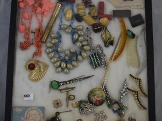 large assortment of Vintage jewelry  lighter  hair accessories  baby ring  etc