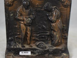 Pr  Verona bookends depicting couple praying over their crops