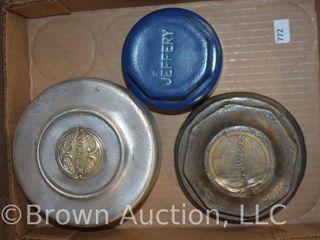 3  Vintage hubcaps   Marmom  Jeffery  Autocar