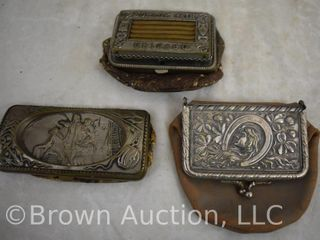 3  Vintage leather and metal coin purses with belt buckle style embossed clasps