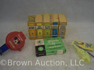 5  1950 s Russell miniature card games for children  plastic Mickey Mouse Cub Wrist Ray  miniature