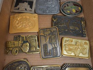 14  Implement dealer belt buckles  mostly John Deere  Vermeer  Massey Ferguson  etc
