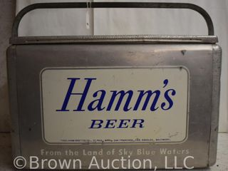 Hamm s Beer From the land of Sky Blue Waters cooler w hinged lid  plug intace