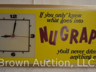NuGrape advertising clock  plastic front