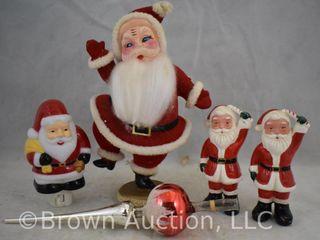 Santa Claus salt and pepper set  night light and dancing felt and plastic figurine
