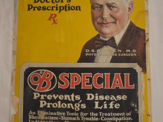 Old Cardboard O B Special  Prevents Disease Prolongs life  cardboard advertising poster