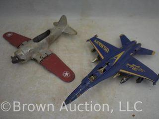 Hubley Kiddie Toy airplane and U S  Navy Blue Angels fighter jet