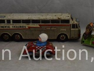 Assorted toys incl  friction Continental Trailways bus  wind up race car driver  wind up Derby horse