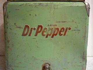 Dr Pepper cooler ice chest  bottle cap opener  plug intact
